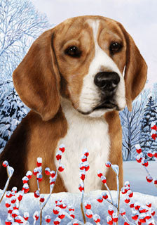 Beagle Tamara Burnett Winter Dog Flag