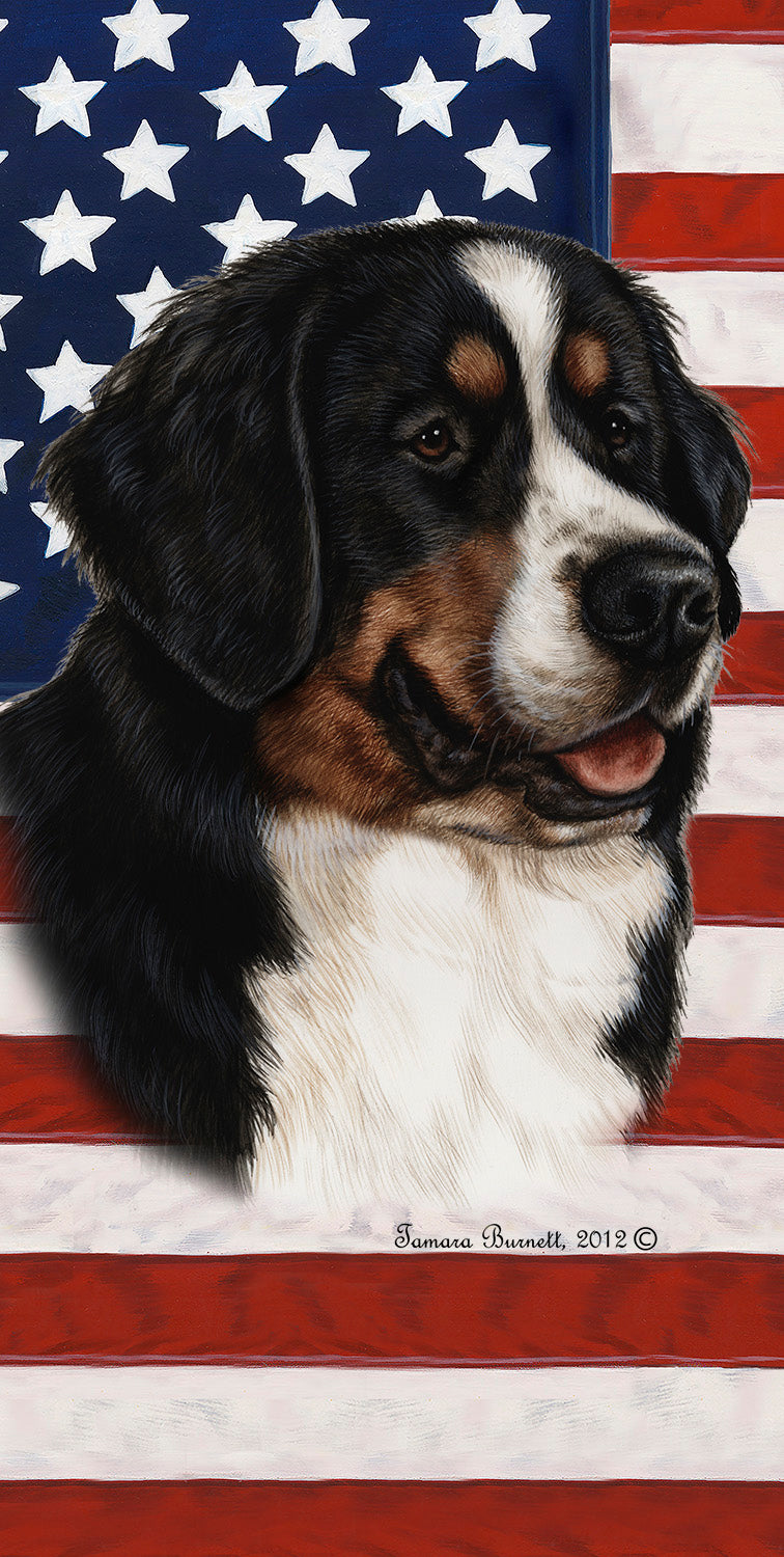 "American Flag Bernese Mountain Beach Towel - 30"" x 60"""
