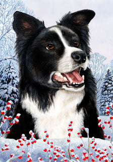 Border Collie Tamara Burnett Winter Dog Flag