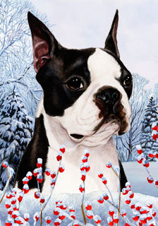 Boston Terrier Tamara Burnett Winter Dog Flag