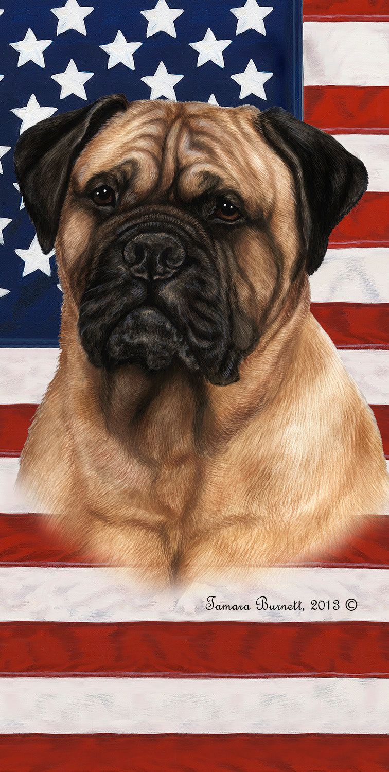 "American Flag Bull Mastiff Beach Towel - 30"" x 60"""