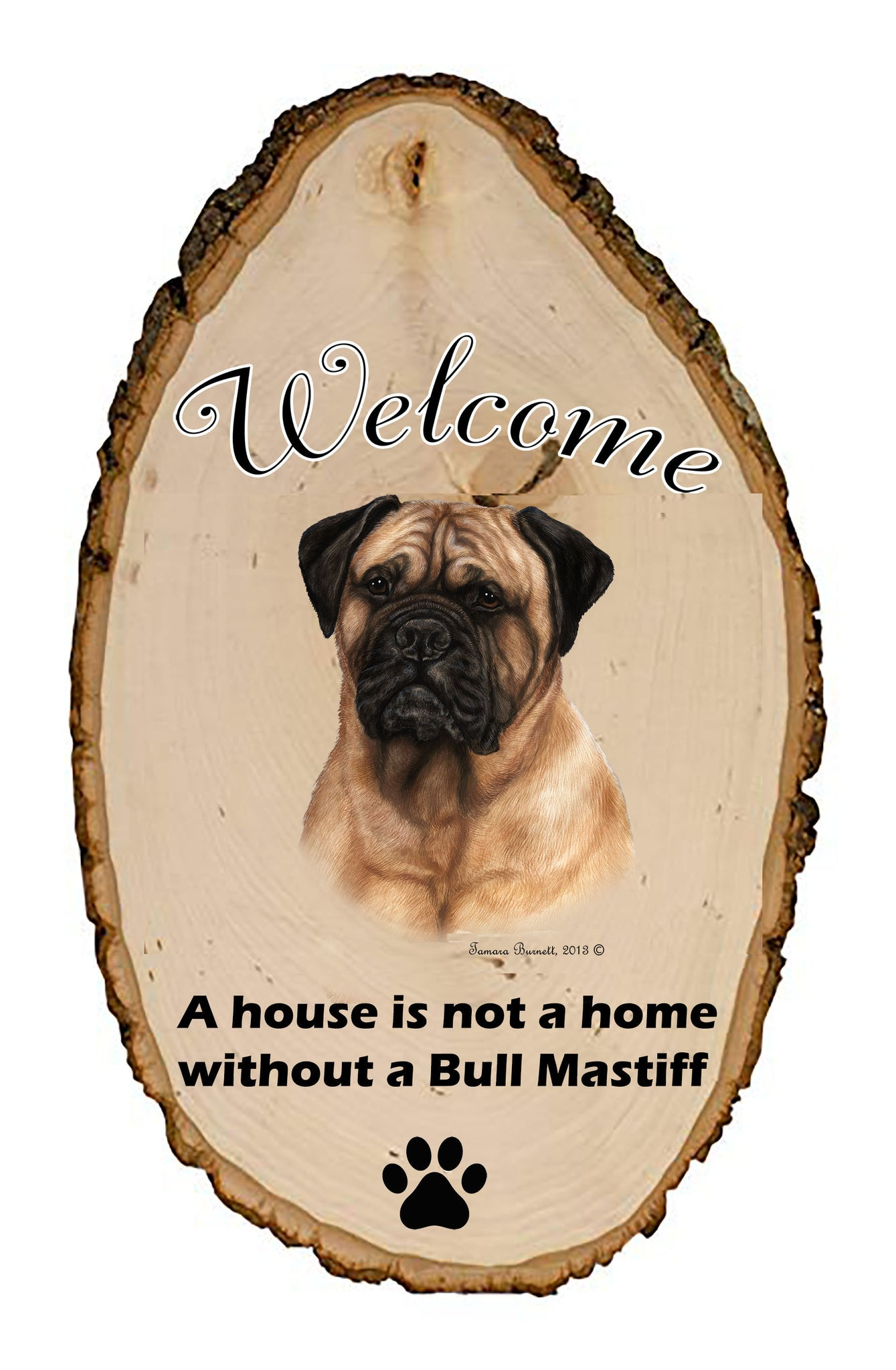 Bull Mastiff Welcome Vignette Sign