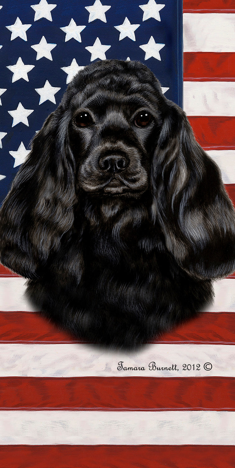 "American Flag Cocker Spaniel Beach Towel - 30"" x 60"""