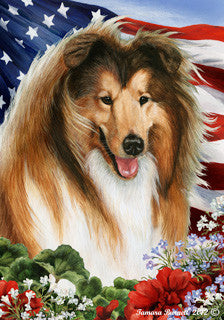 Collie Tamara Burnett Patriotic Flag