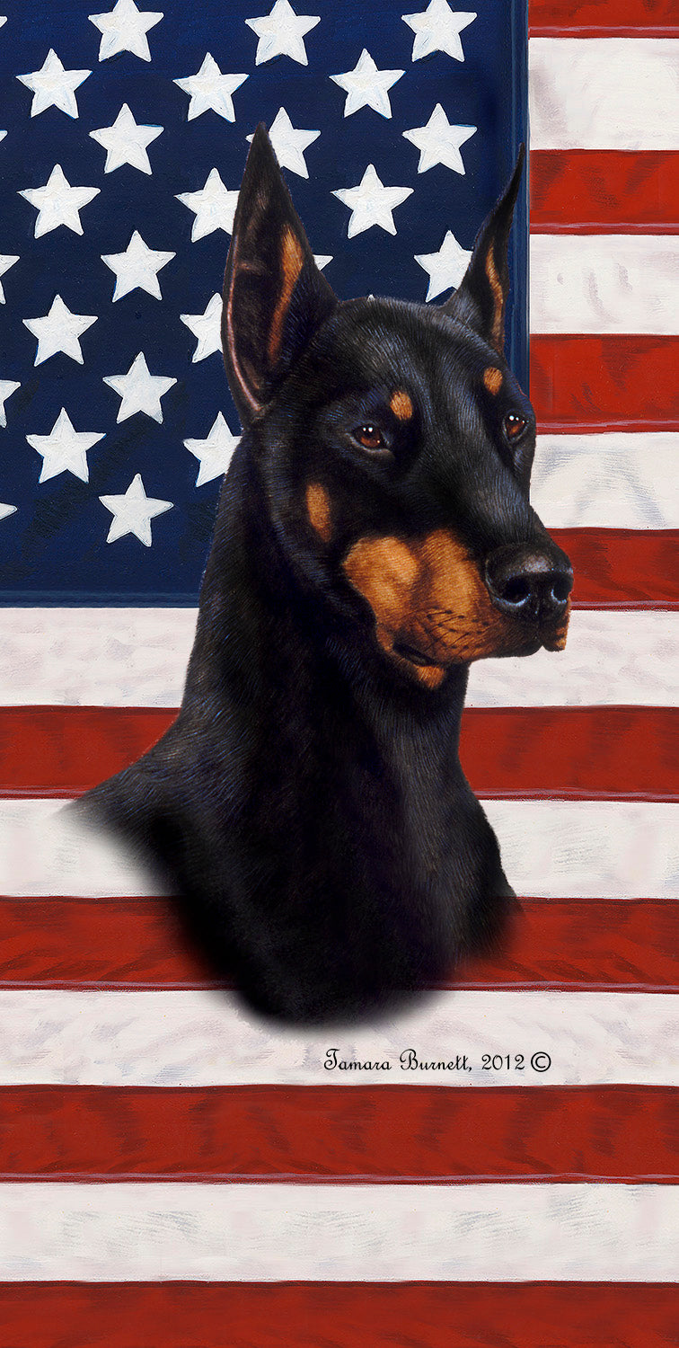 "American Flag Doberman Beach Towel - 30"" x 60"""