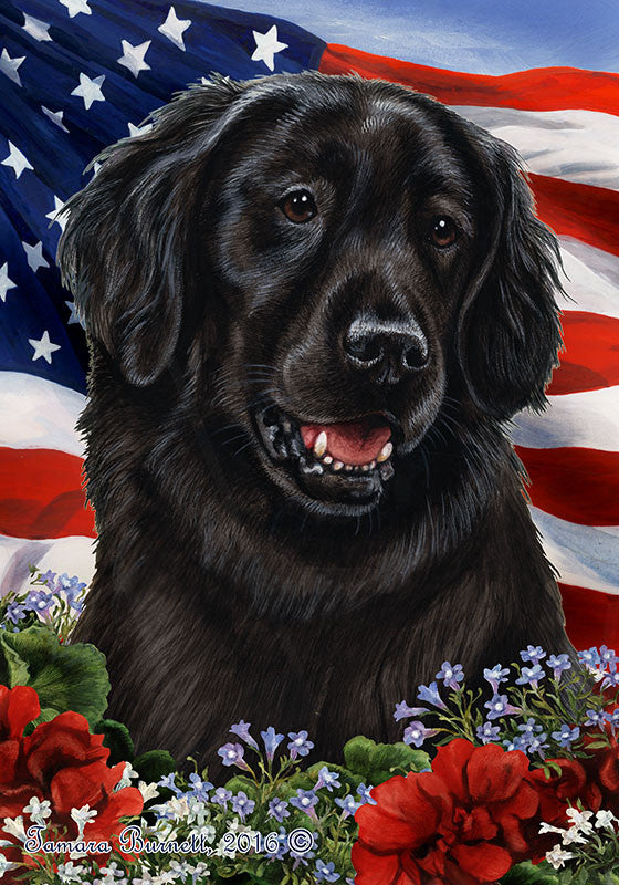 Flat-Coated Retriever Tamara Burnett Patriotic Flag