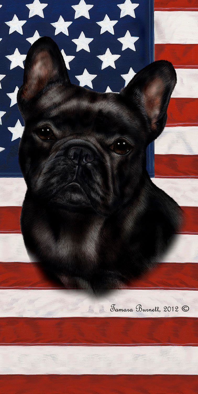 "American Flag French Bulldog Beach Towel - 30"" x 60"""