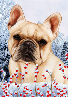 French Bulldog Tamara Burnett Winter Dog Flag