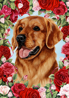 Golden Retriever Valentine Day Flag