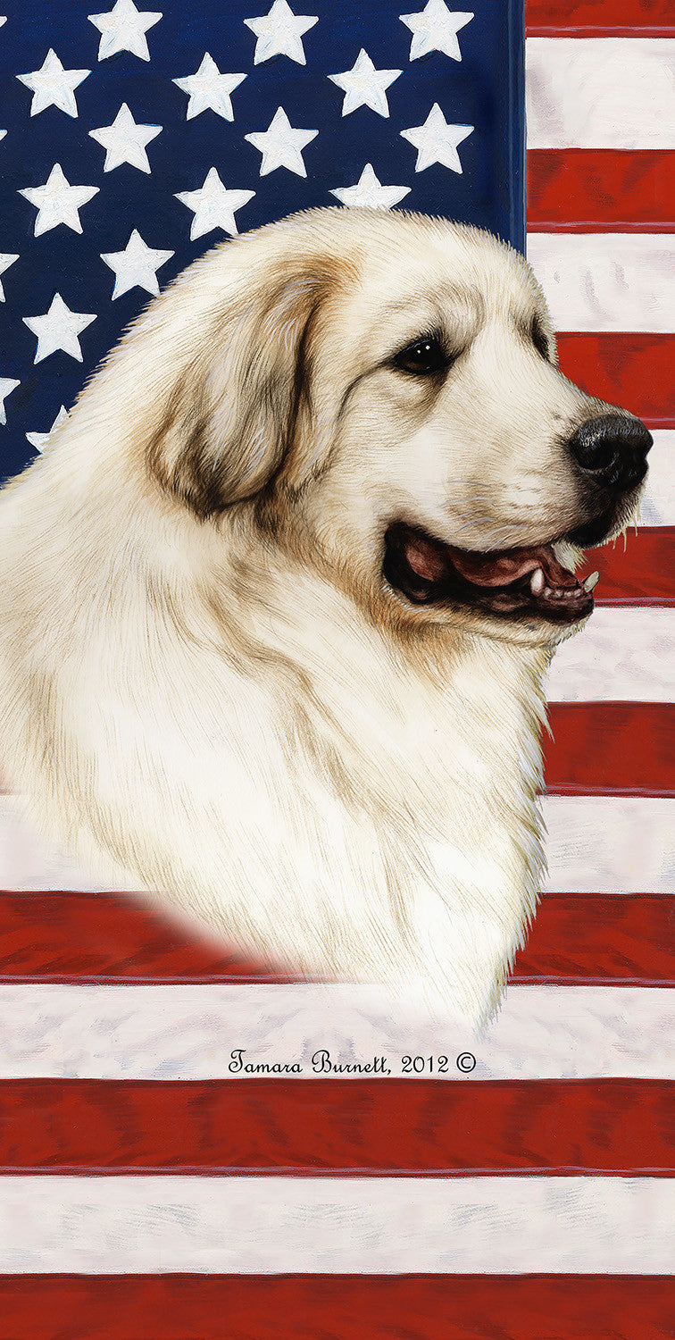 "American Flag Great Pyrenees Beach Towel - 30"" x 60"""