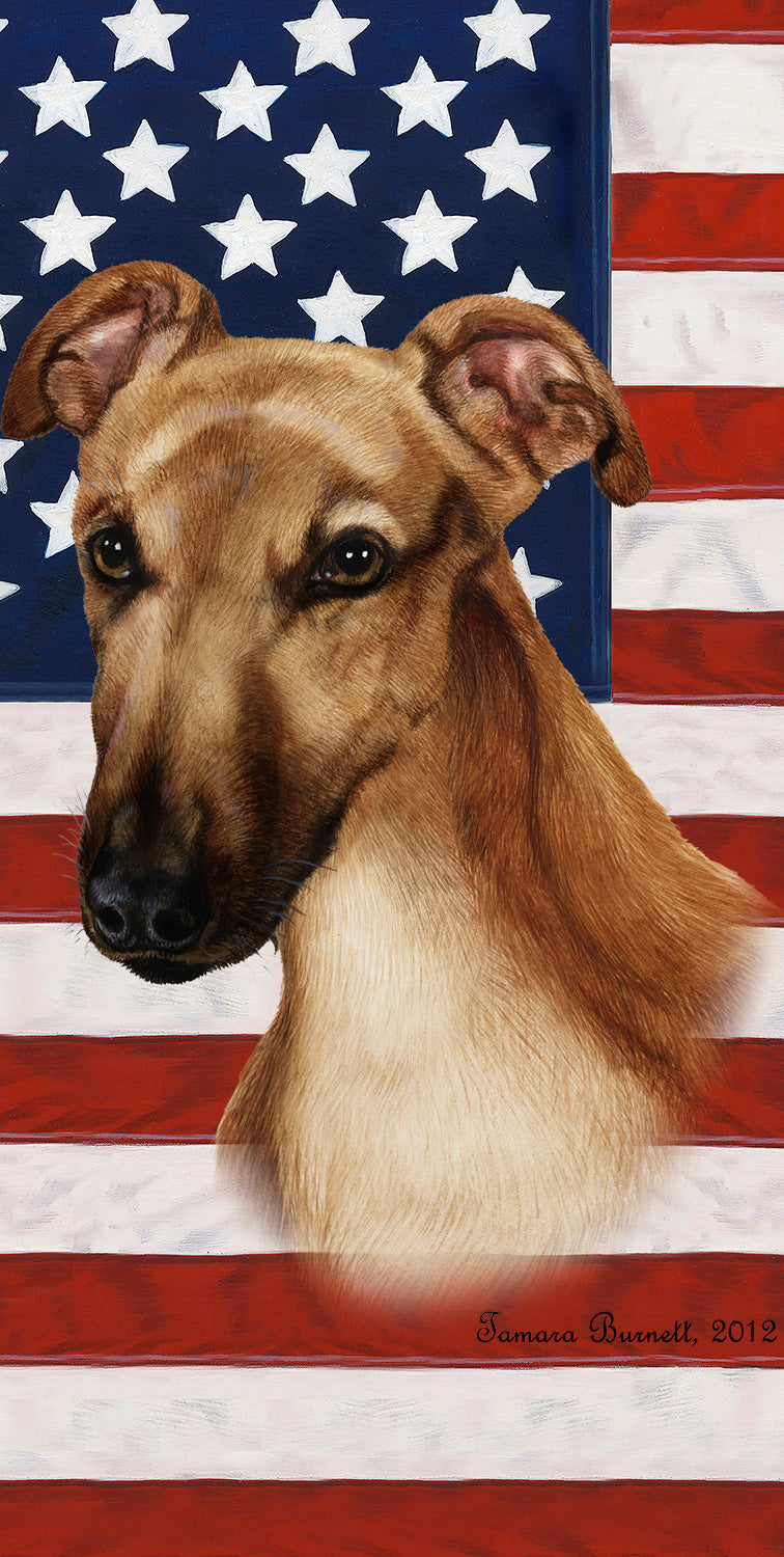"American Flag Greyhound Beach Towel - 30"" x 60"""