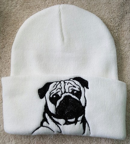 cee4c91f6b9 Hand Made Pug Knit Hat - Mostly Paws
