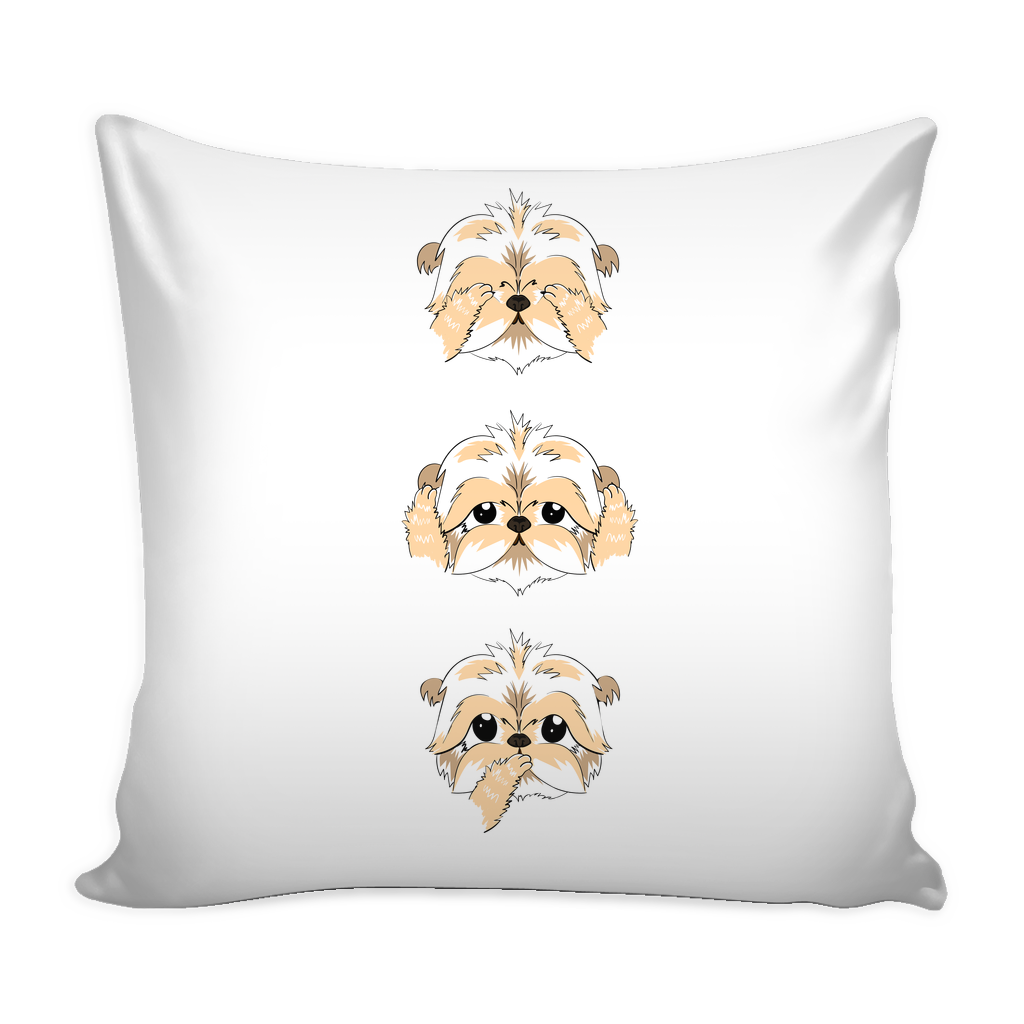 See No Evil Shih Tzu Pillow Case Mostly Paws