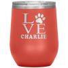 Personalized Love Paw Print 12oz Stemless Wine Cup