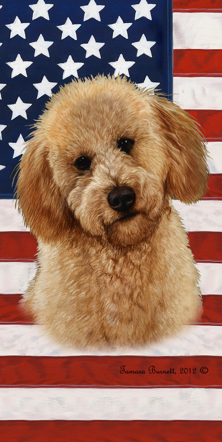 "American Flag Labradoodle Beach Towel - 30"" x 60"