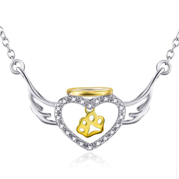 Angel Wing Paw Print 925 Sterling Silver Necklace D