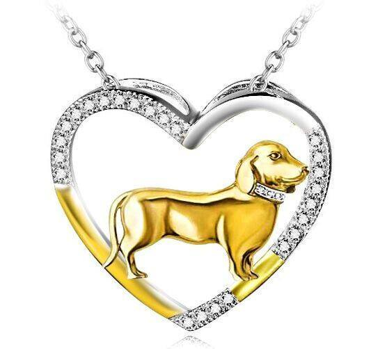 Dachshund Dog 925 Silver Open Heart Necklace - D