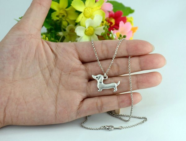 Dachshund Shaped Pendant Necklace - D