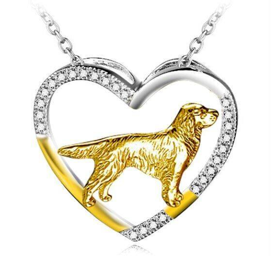 Golden Retriever 925 Silver Open Heart Necklace - D
