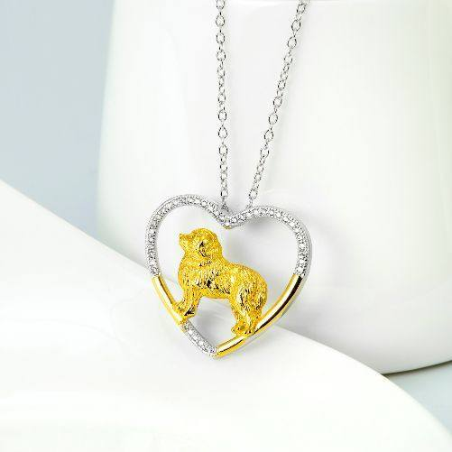 Great Pyrenees 925 Silver Open Heart Necklace - D