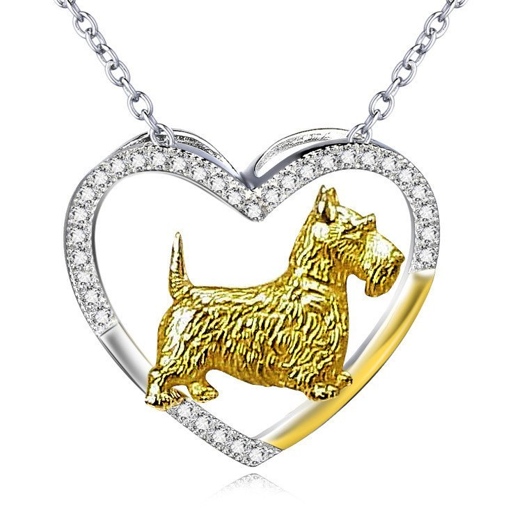 Beautiful Scottish Terrier 925 Sterling Silver Open Heart Necklace