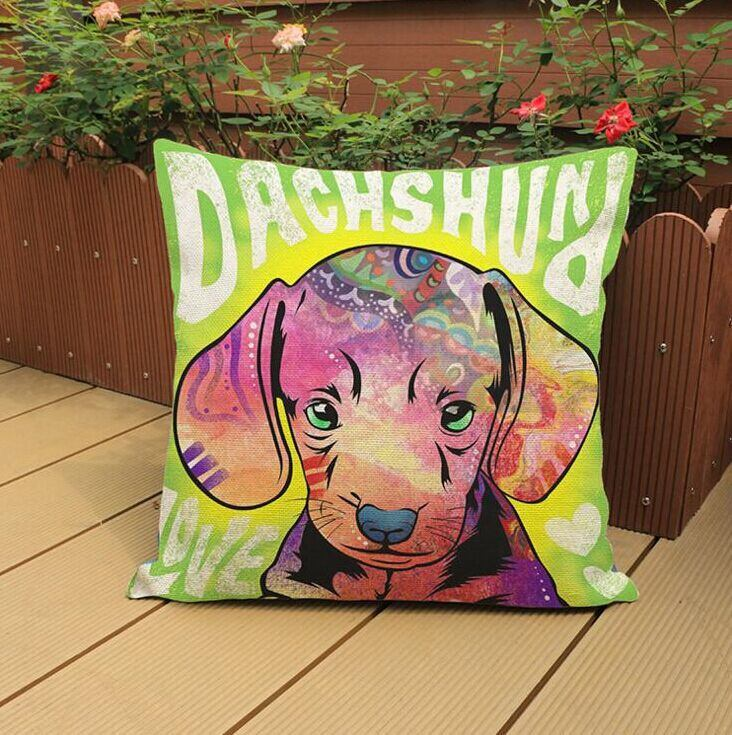 "Colorful Cute Dachshund Puppy Throw Pillow Cover - 18"" x 18"""