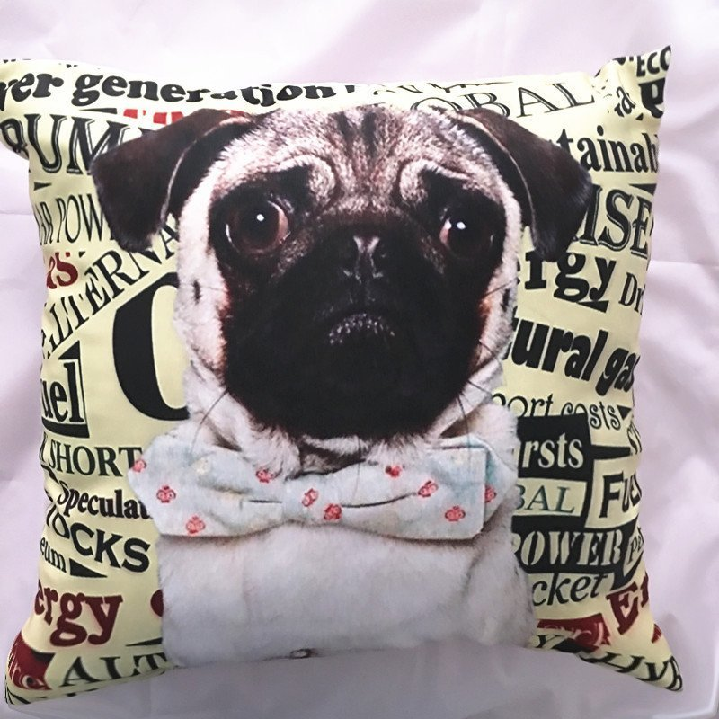 "Cute Pug Dog Throw Pillow Cover - 18"" x 18"""