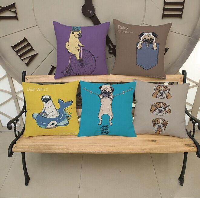 "Funny Pug Dog Throw Pillow Cover - 18"" x 18"""