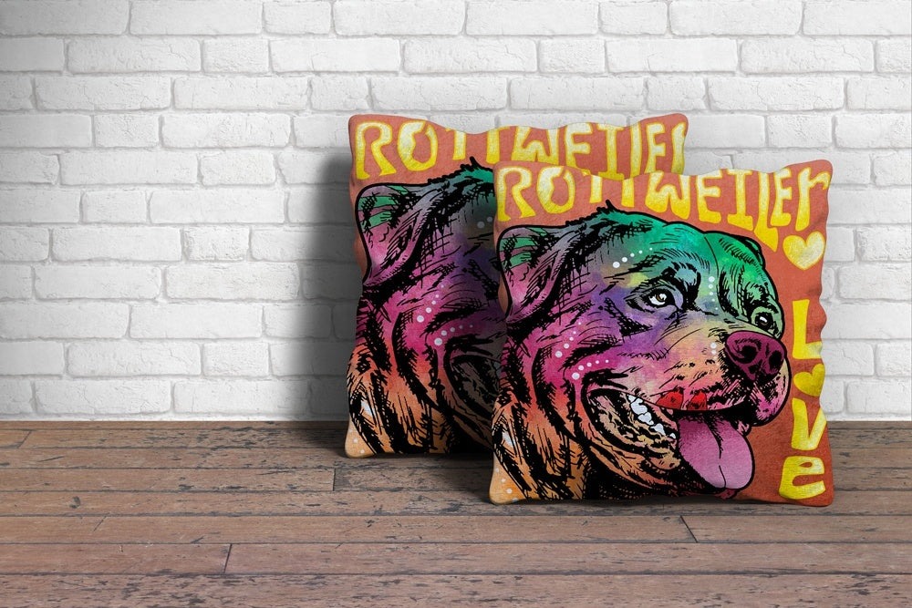 "Colorful Rottweiler Dog Throw Throw Pillow Cover - 18"" x 18"""