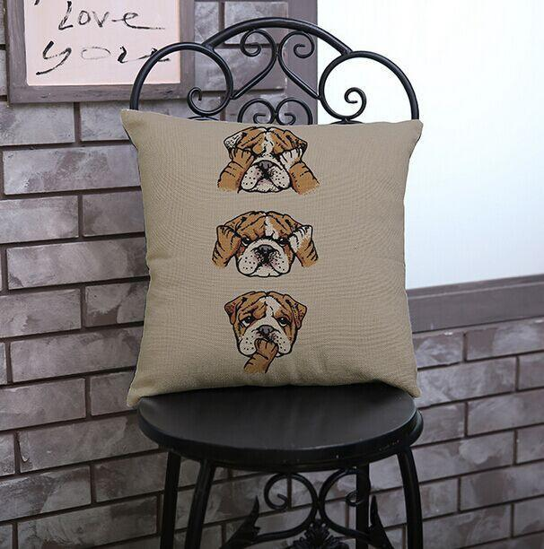 "See No Evil English Bulldog Throw Pillow Cover - 18"" x 18"""