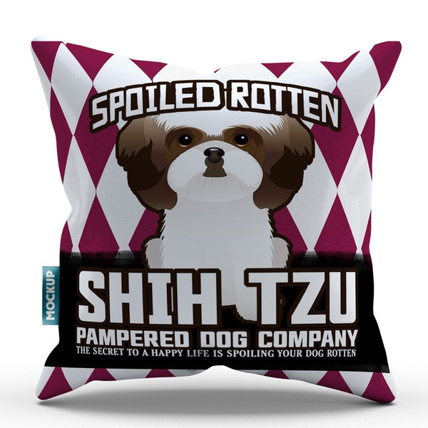 Spoiled Rotten Shih Tzu Throw Pillow Cover 18 X 18 Mostly Paws