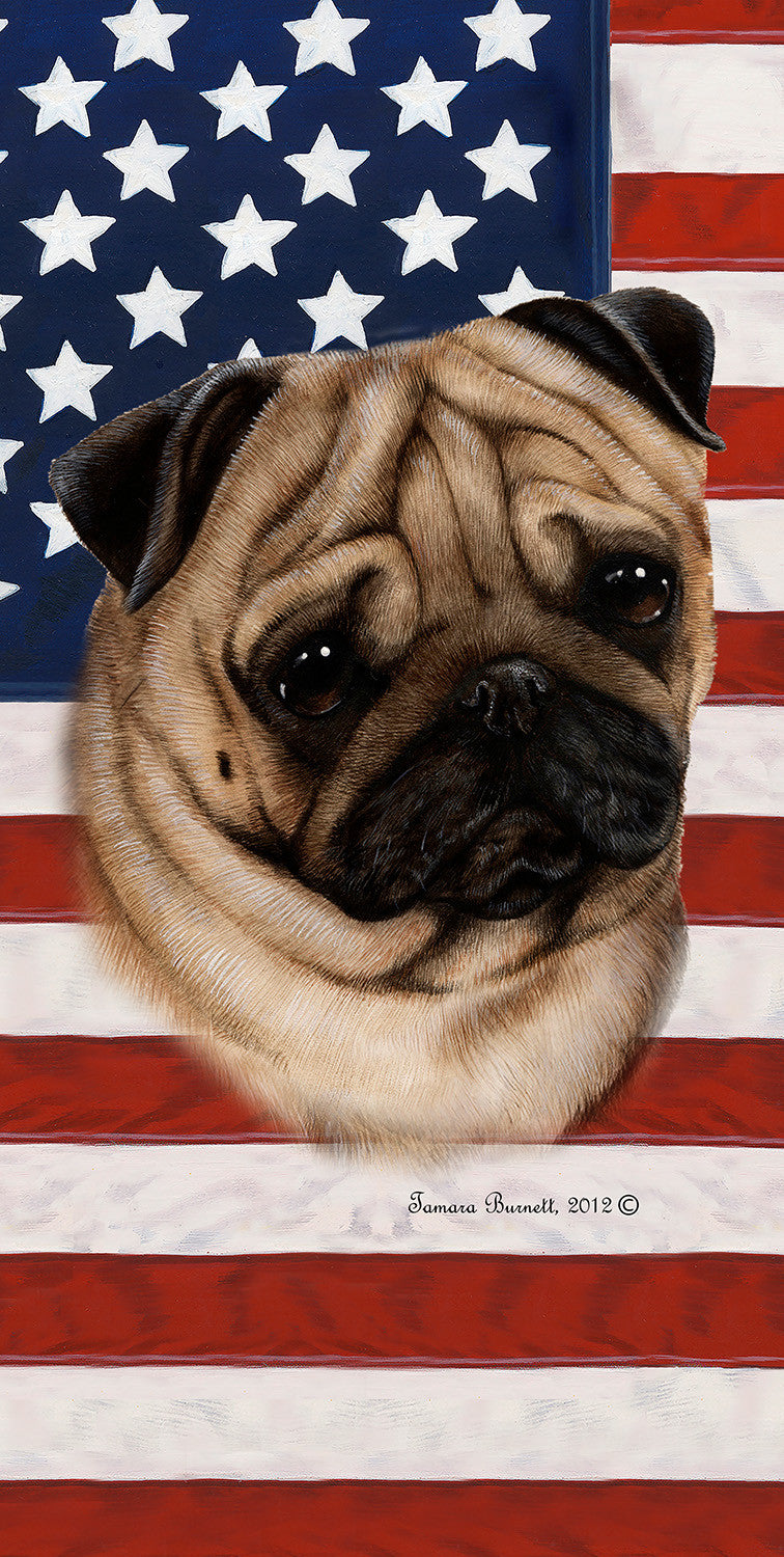 "American Flag Pug Beach Towel - 30"" x 60"""