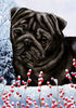 Pug Tamara Burnett Winter Dog Flag