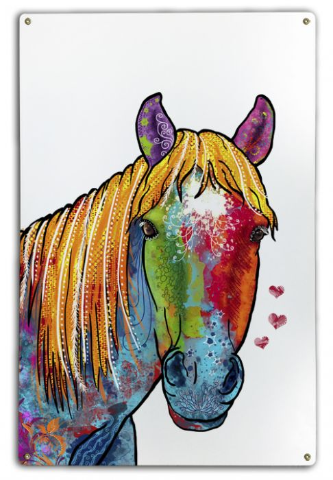 Horse Birch Wood and Classic Metal Sign Colorful Portrait