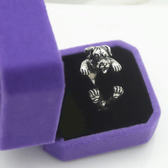 925 Sterling Silver Rottweiler Dog Wrap Ring - Antique Finish - D