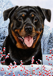Rottweiler Tamara Burnett Winter Dog Flag