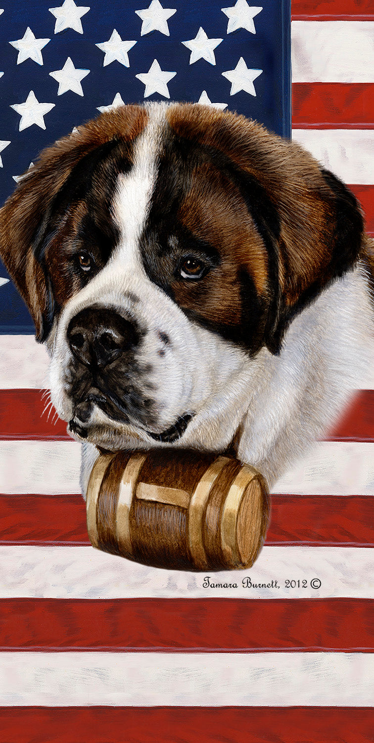 "American Flag Saint Bernard Beach Towel - 30"" x 60"""