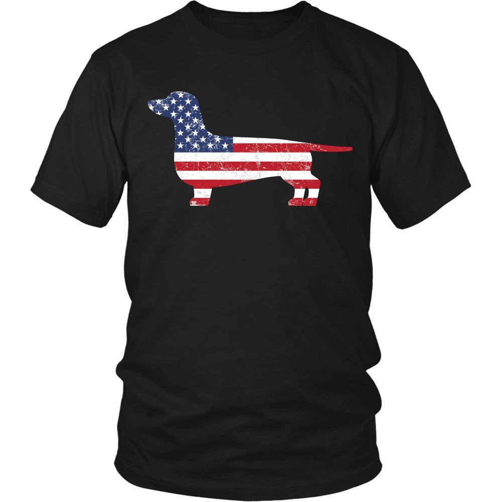 American Flag Dachshund Dog T-Shirt