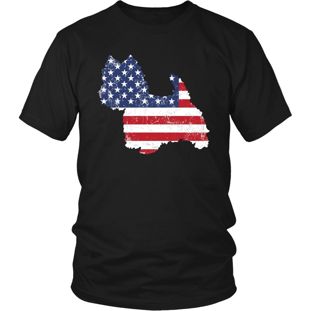 American Flag West Highland White Terrier Dog T-Shirt
