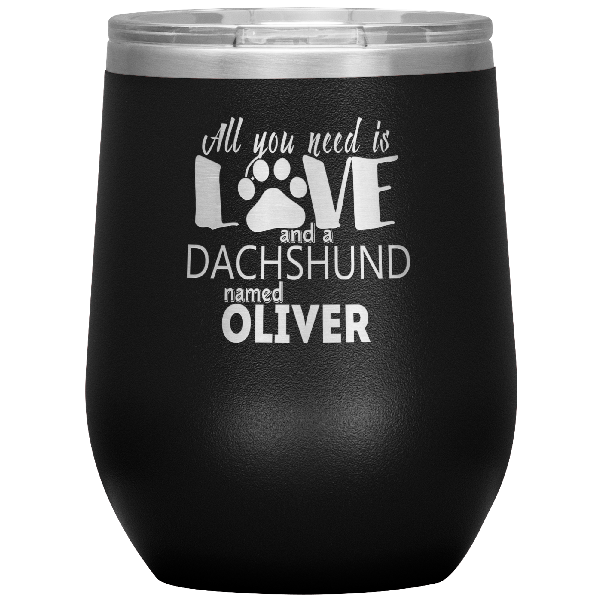 Personalized All You Need is Love and a Dog Breed Named 12oz Stemless Wine Cup