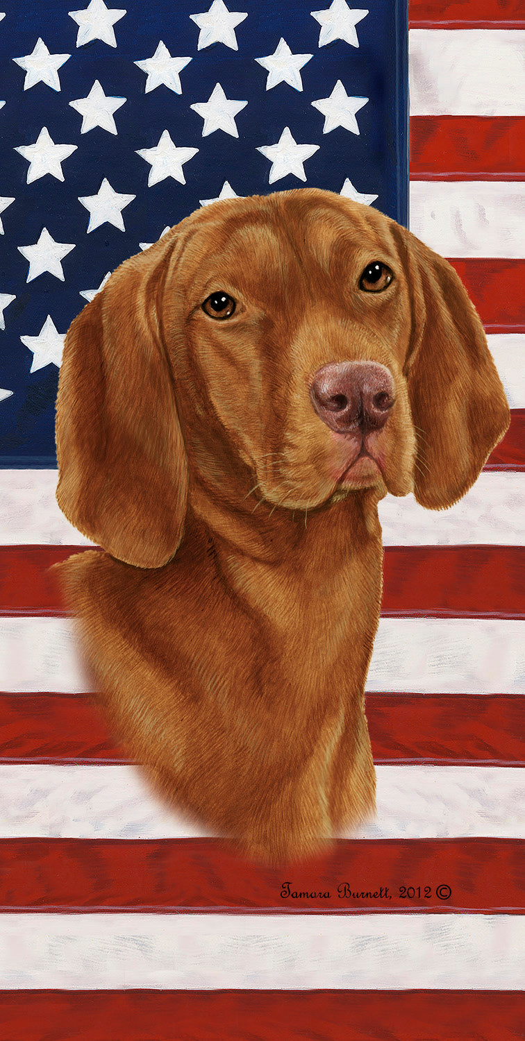 "American Flag Vizsla Beach Towel - 30"" x 60"""