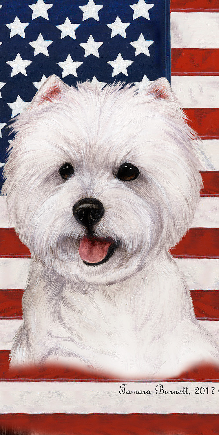"American Flag Westie Beach Towel - 30"" x 60"""