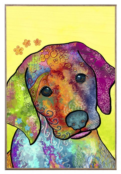 Baby Labrador Birch Wood and Classic Metal Sign Colorful Portrait