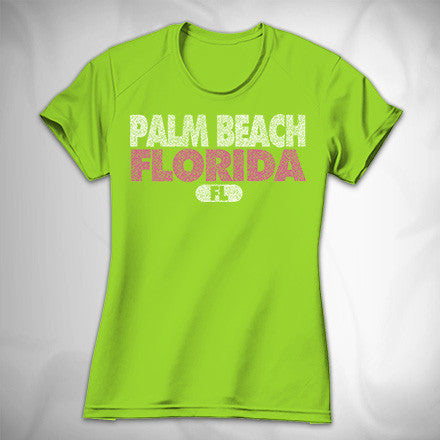 MF6958-4 Sports Stipple Text Ladies Performance Tee Palm Beach