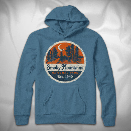 MF7790-4 Record Label Hoodie Smoky Mountains National Park Pines