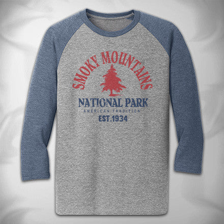 MF7882-2 Traditional Arch Baseball Tee Smoky Mountains National Park Pines