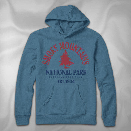 MF7882-2 Traditional Arch Hoodie Smoky Mountains National Park Pines