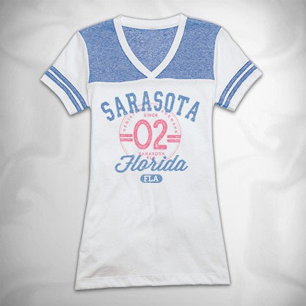 MF7957-2 Collegiate Essentials Varsity V Neck Tee Sarasota