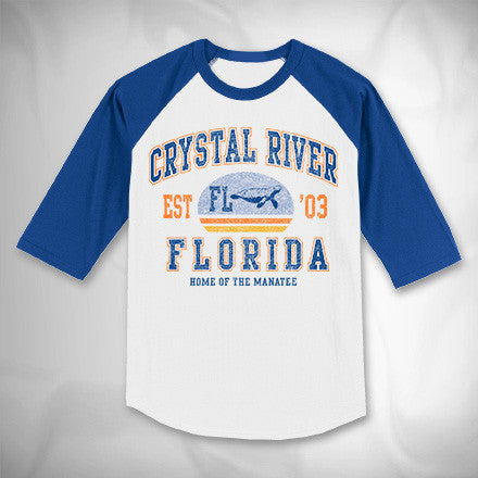 MF8022-2 Vintage Athletic Raglan Tee Crystal River Manatee