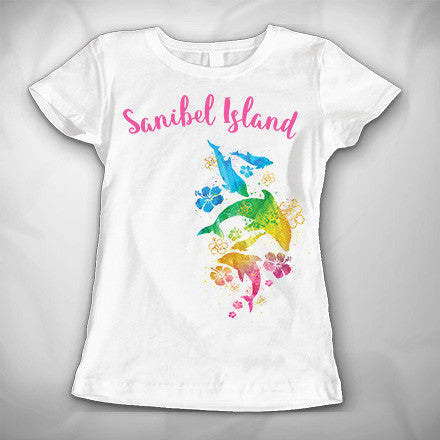 MF8053 Watercolor Dolphins Princess CVC Sanibel Island